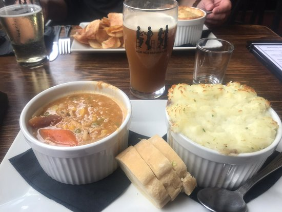 Shepherds pie with a side of soup