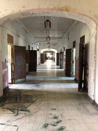 Fire etagers historisk rundvisning i gotisk vanvittigt asyl: Ward hallway
