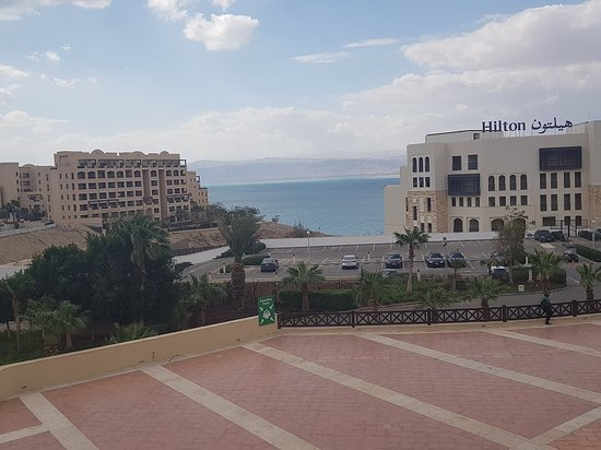 View of the hotel with Dead Sea in the background