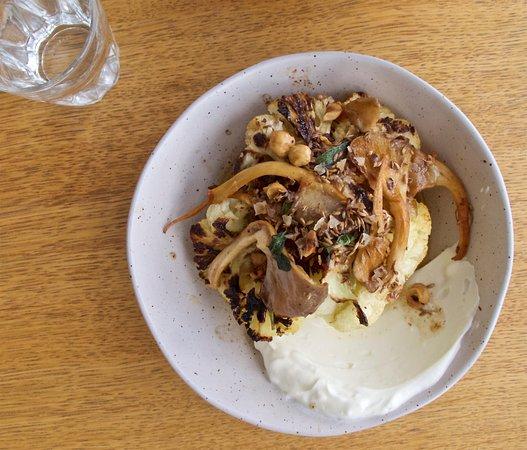 Helm: Grilled cauliflower, oyster mushrooms, yoghurt, hazelnuts