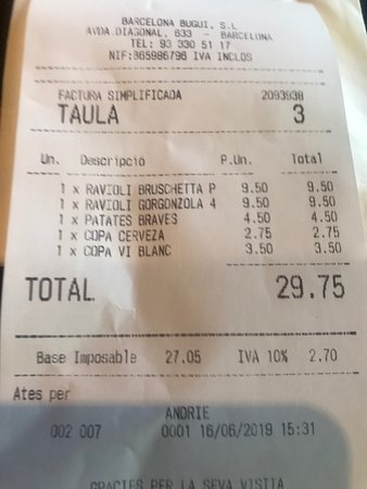 Restaurante Bugui: 30 euros for a poor meal, poor in quality and abominable service