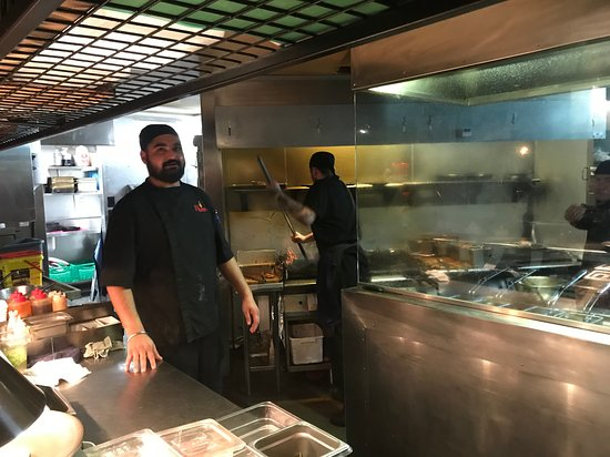 Flame Bar and Grill: The kitchen where the amazing smells come from