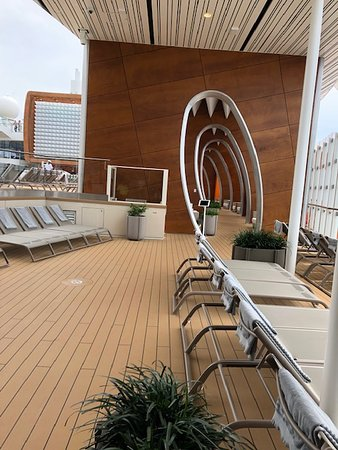 Celebrity Edge: Shark tooth hallway by the pool