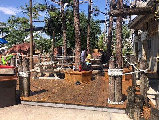 Numerous areas with picnic tables where you can sit, rest, relax and enjoy your food.
