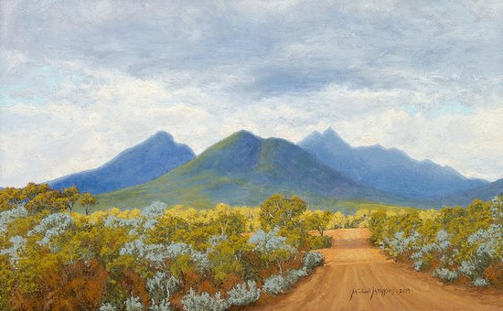 "1 Riverview Studio: ""Stirling Ranges in Changing Light"" Australian Landscape Oil Painting by Michael Hodgkins"