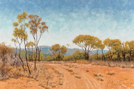"1 Riverview Studio: ""Old Glenroy Station Country""  Australian Landscape Oil Painting by Michael Hodgkins"