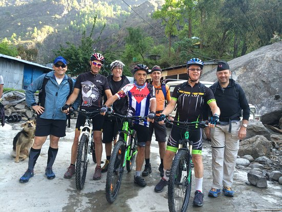 Mountain Biking Trip to Annapurna Circuit via Thorong La Pass 5416m in April 2019 with Swiss-Hong Kong Group. Trip organized by Swiss Family Treks and Expedition. Photo was taken in Jagat Village before starting the trip.