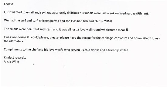 a lovely review was emailed to us so I thought i'd share