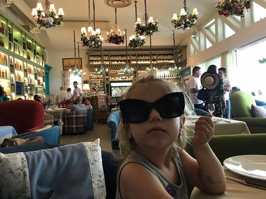 In the restaurant inside
