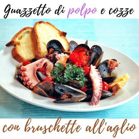 guazzetto al polpo e cozze con bruschette all'aglio