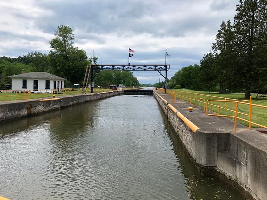 Erie Canal Park at Macedon - looking down the lock