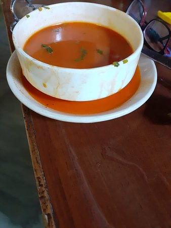 Soup served exactly like this.