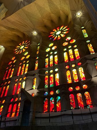 Basilica of the Sagrada Familia Admission Ticket with Tower Access: One of the walls of glass
