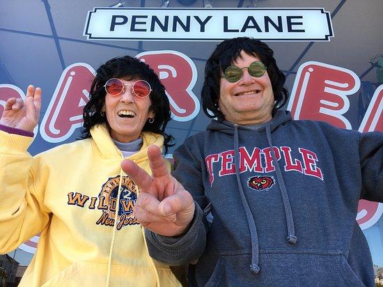 Outside the Penny Lane Barber Shop