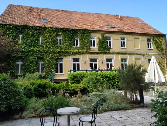 Domane Neu Gaarz: Rückansicht mit der schönen Terrasse. Idylle pur!