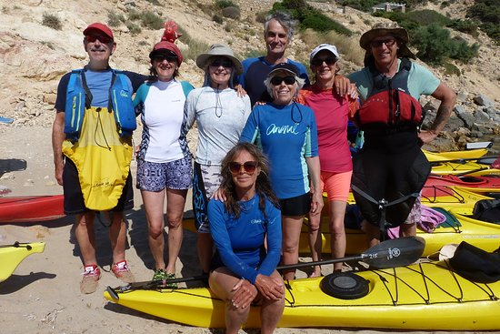 Sea Kayak Milos: Group photo whilst stopping for lunch and a swim at a secluded beach