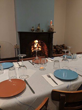 Pelagos Greek Tavern: Cozy fireplace in our function room