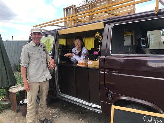 Kochkorka, جمهورية قرغيزستان: Kochmon coffee- local mobile coffee shop in sunshine village Kochkor.  Delicious snacks/ fresh lemonades/ milkshakes / natural coffee /   soul talks / free wifi zone