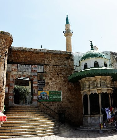 2.  Al-Jazzar Mosque, Acre; the green-domed sabil at the entrance steps