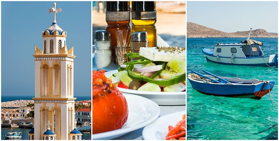 This is Greece to me. The Culture, food and beautiful water. The church tower is the local church at the mini island Chalki 6 km outside Rhodes. The only thing you can do in Chalki is swim and relax. In Chalki lives only 330 local people. You travel here by boat from Rhodes or Kos. Be aware that its not departures from the island everyday so if you go for a day trip be sure you don't miss the boat back.