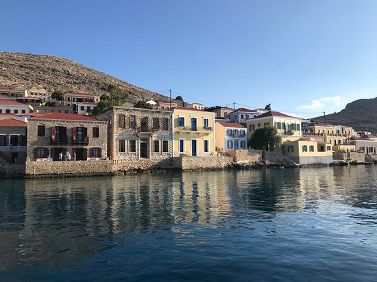 Chalki island waterfront houses