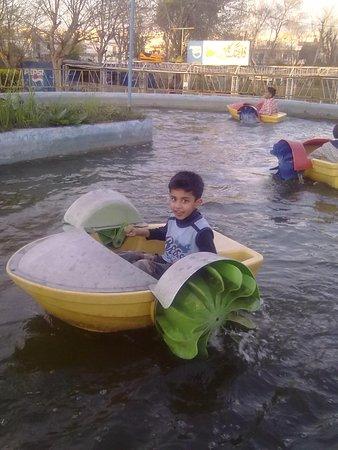 My younger son enjoying the little water boat at Ayub National Park Rawalpindi Pakistan