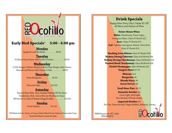 Our wonderful new Specials/Drink menus. We now also offer Happy Hour!