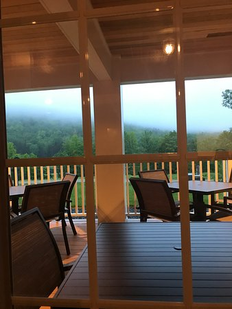 Outside dining with evening mist.