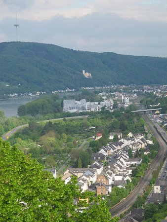 View of Braubach with a castle on the other side of the river