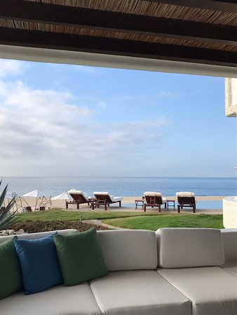 Our private patio at our room looking toward the pool and ocean