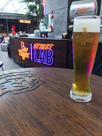 Tiger Draft Beer at Tiger Street Lab (S$11.77 after taxes; 550ml if I am not wrong).  Seasonal beers are only available after 5pm.