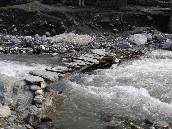 Chitral, Pakistan: A Typical bridge in the Village.
