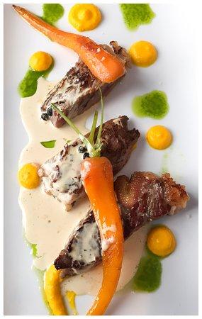Boeuf juste saisi à la crème de foie gras
