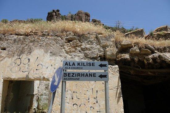Guzelyurt, Turkey: road signs up hill