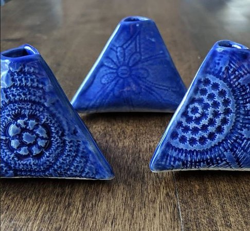 Tiny ceramic flower vases by Elements of Gray. Made in Wisconsin.
