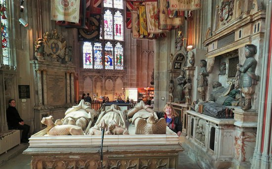 Leeds Castle, Canterbury Cathedral, Dover and Greenwich from London: This is me at Canterbury Cathedral, visiting my ancestor, John Beaufort, 1st Earl of Somerset, and great-grandfather of King Henry VII, founder of the Tudor dynasty.