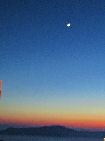 ocean, sunset and the moon.