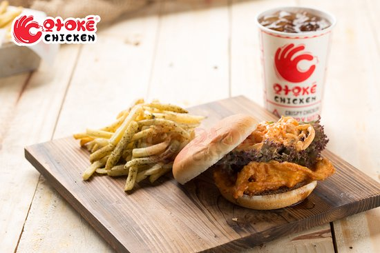 Chicken kimchi burger, shake french fried seaweed favour & softdrink