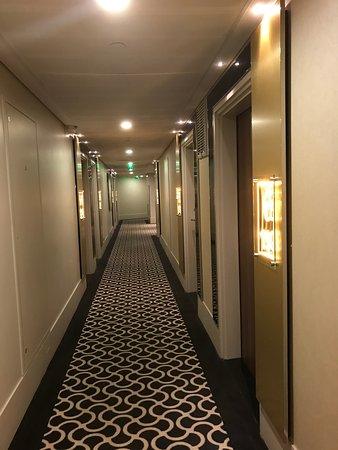 6階の廊下。床は厚いカーペットで音がしにくいです。