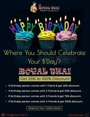 Get Birthday Discount in top thai foods restaurant in amsterdam