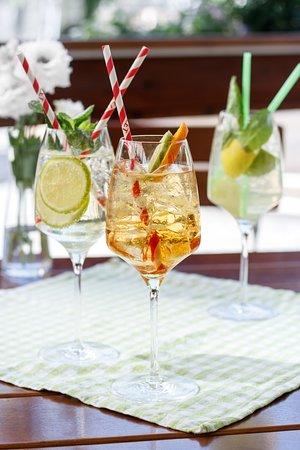 Genießen Sie einen unserer sommerlichen Drinks in unserem schönen Gastgarten.
