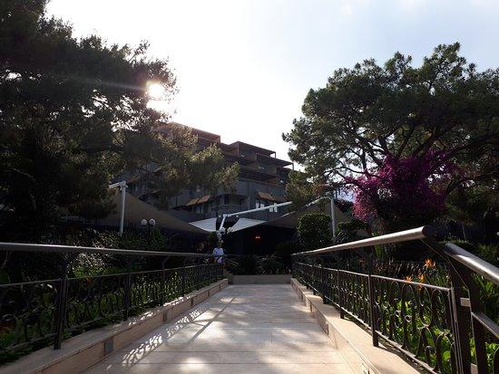Blick aus dem Garten zum Hotel