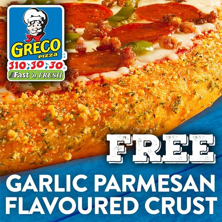 Greco Pizza: Free Flavoured Crust