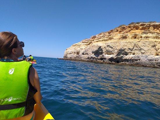 Kayaking in Secret Algarve Benagil Caves: Enjoying coastline of Benagil