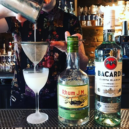 Our Daquiri, Bacardi Carta Blanca, Rhum JM Agricole, Fresh Lime Juice, Sugar.