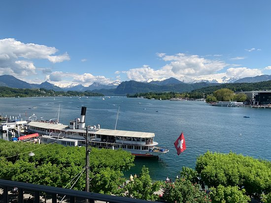 Beautiful Lake Lucerne with the Alps in the background.