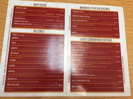 Anita's Cuisine: menu page