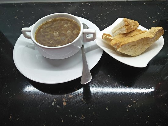 soupof the day.Brown Onion Soup with e.Cheese toast.