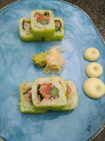 EZO soy-marinated salmon, asparagus, onion, chives, sesame, tempura crunch, soy paper, wasabi mayonnaise