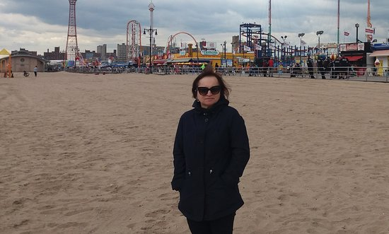 View from the beach of Nathans' on the Coney Island boardwalk